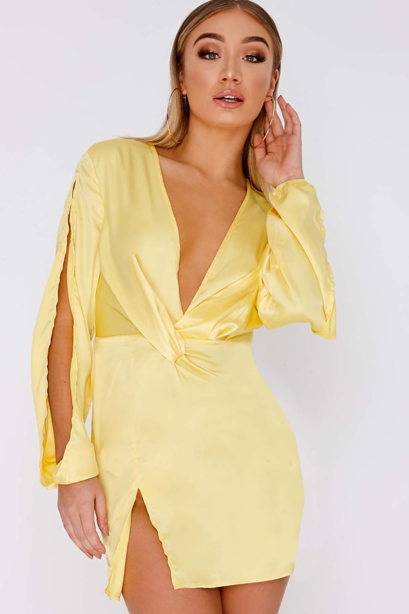 CIANNA LEMON SATIN SPLIT SLEEVE PLUNGE DRESS