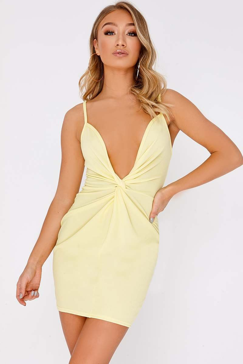 lemon twist front plunge mini dress