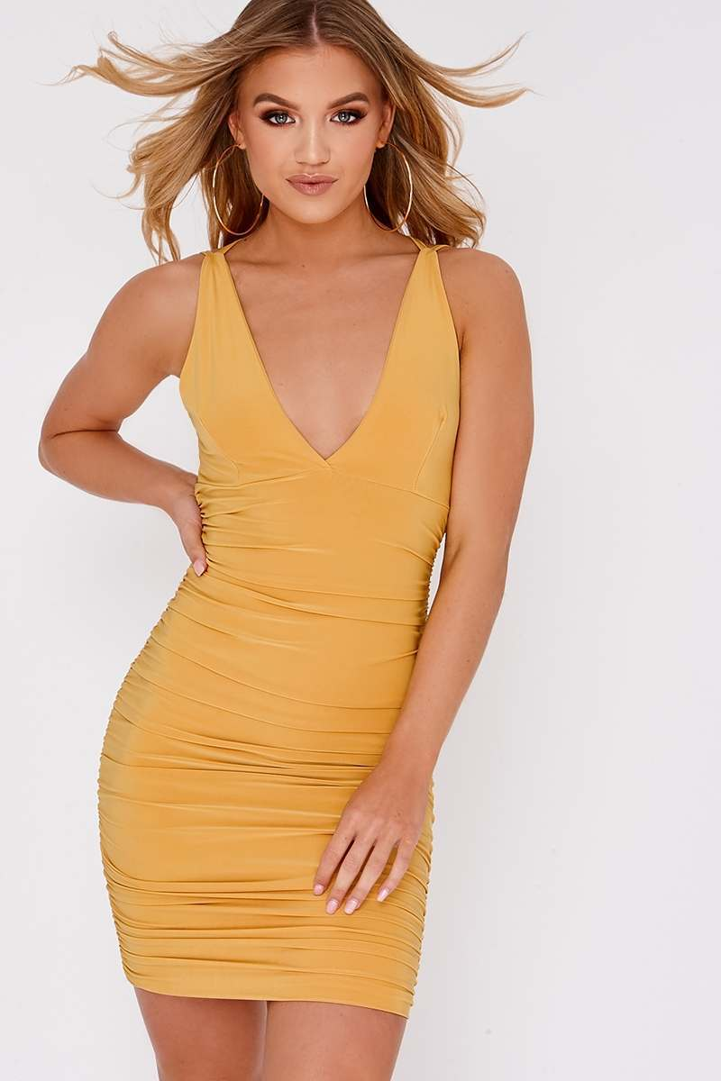 yellow plunge ruched dress