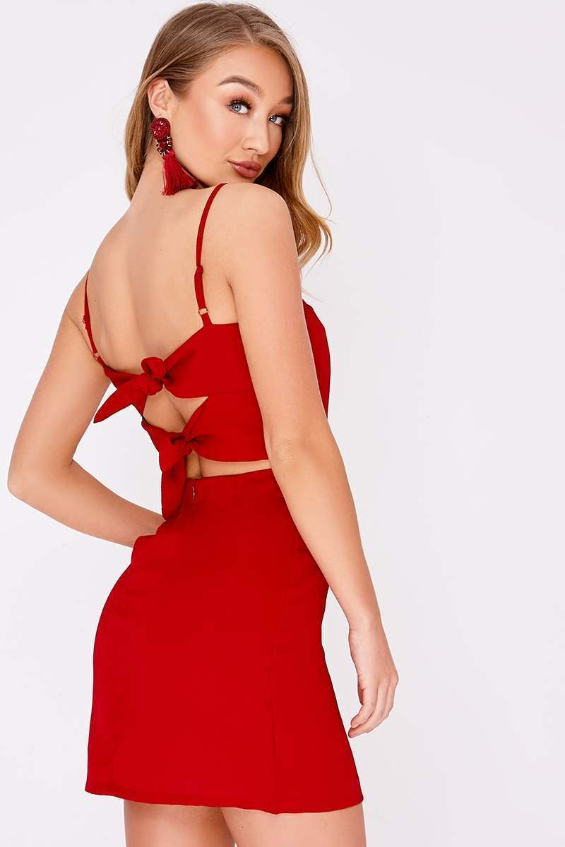 raspberry tie back mini dress