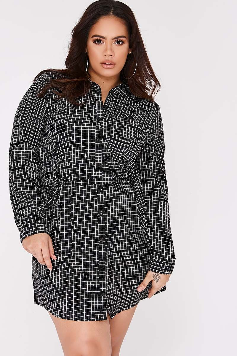 CURVE LENNIX BLACK GRID PRINT TIE WAIST SHIRT DRESS