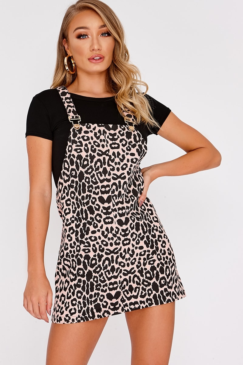 DANU PINK LEOPARD PRINT DENIM PINAFORE DRESS