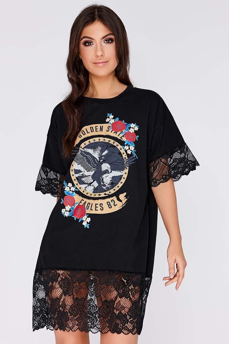 black rose print slogan lace t shirt dress
