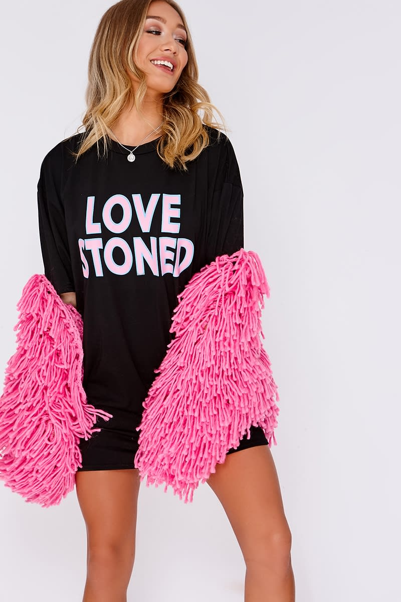 BLACK LOVE STONED SLOGAN BAND T SHIRT DRESS