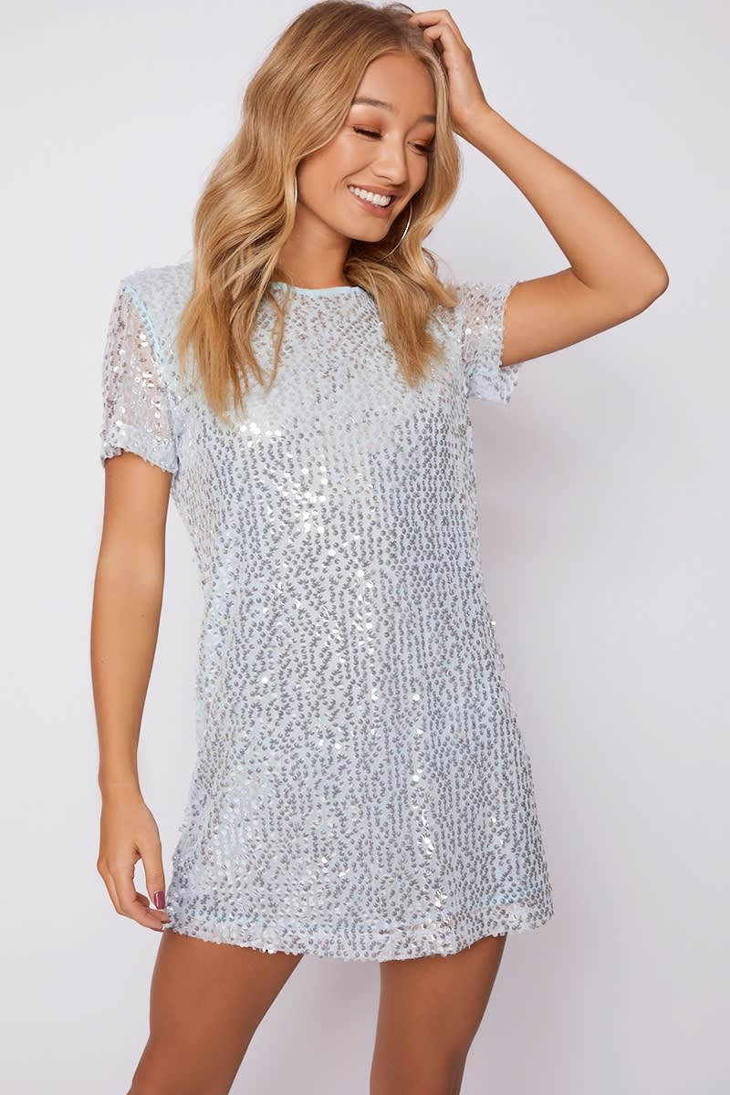 blue sequin t shirt dress