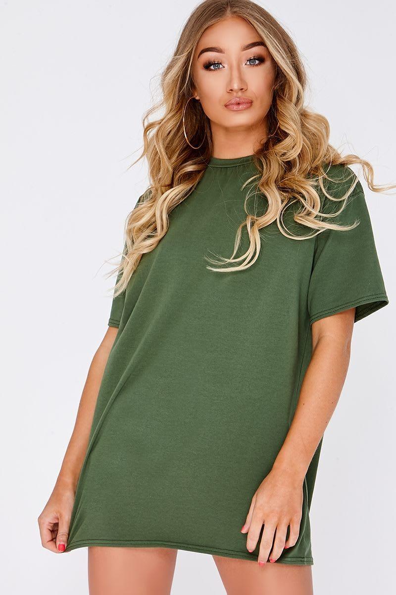 CYNDI KHAKI BASIC T SHIRT DRESS