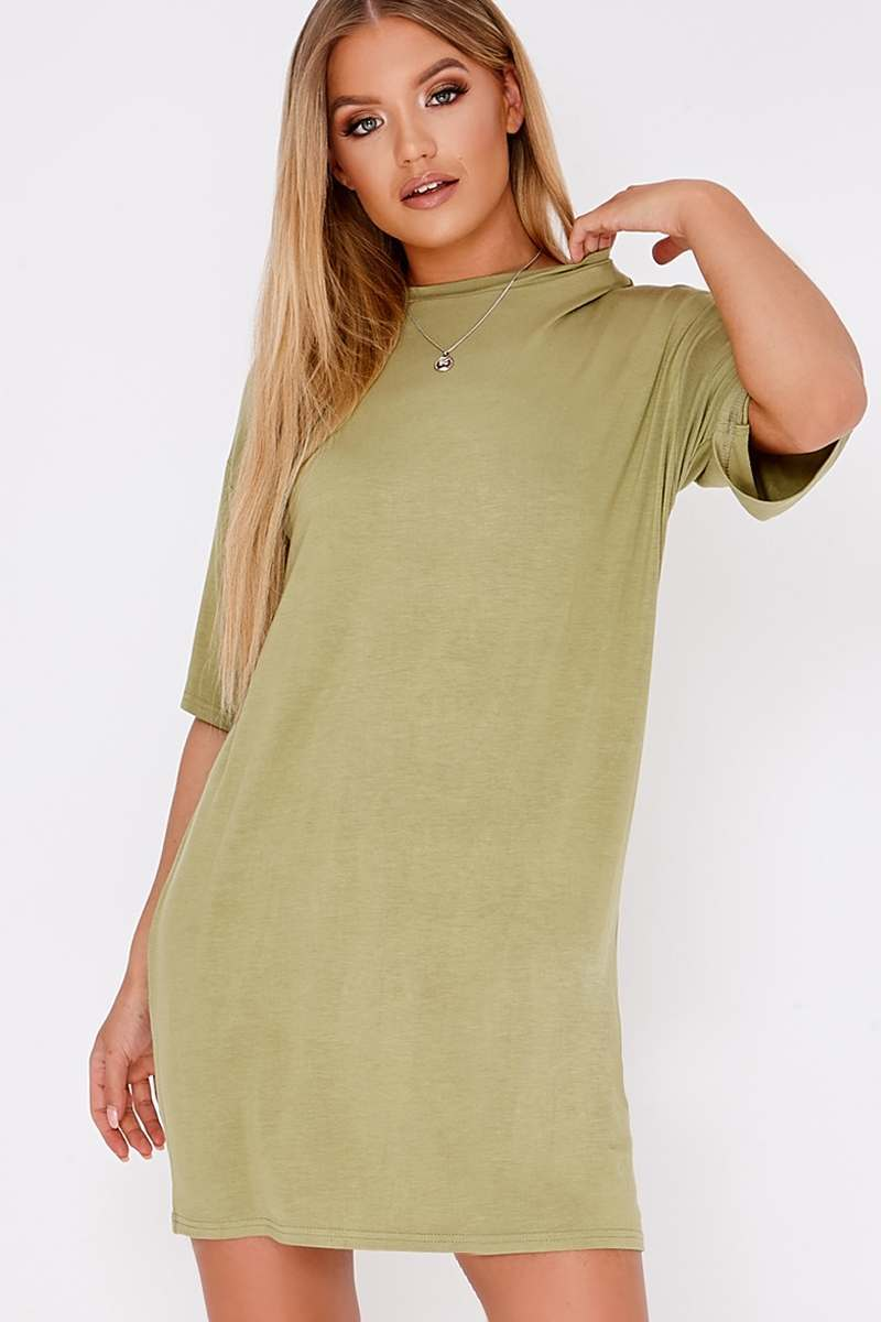 BASIC KHAKI JERSEY OVERSIZED T-SHIRT DRESS