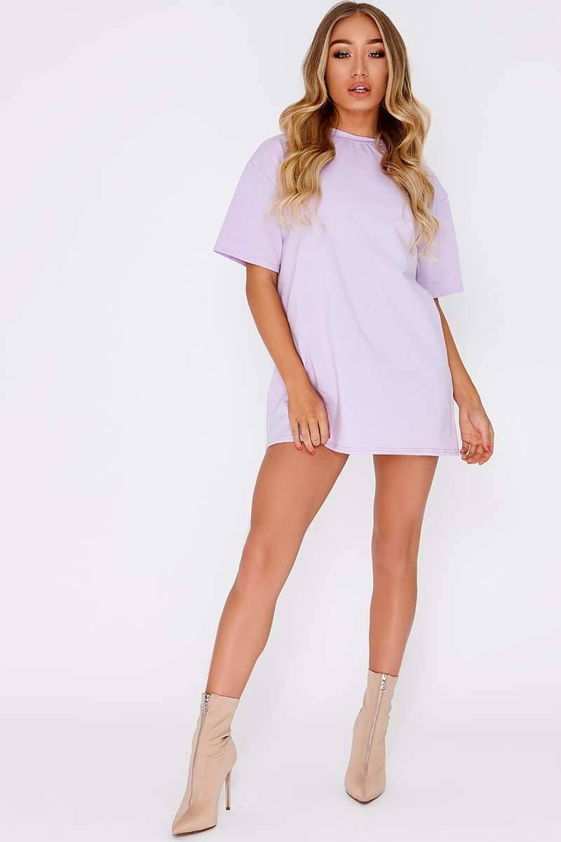 lilac basic t shirt dress