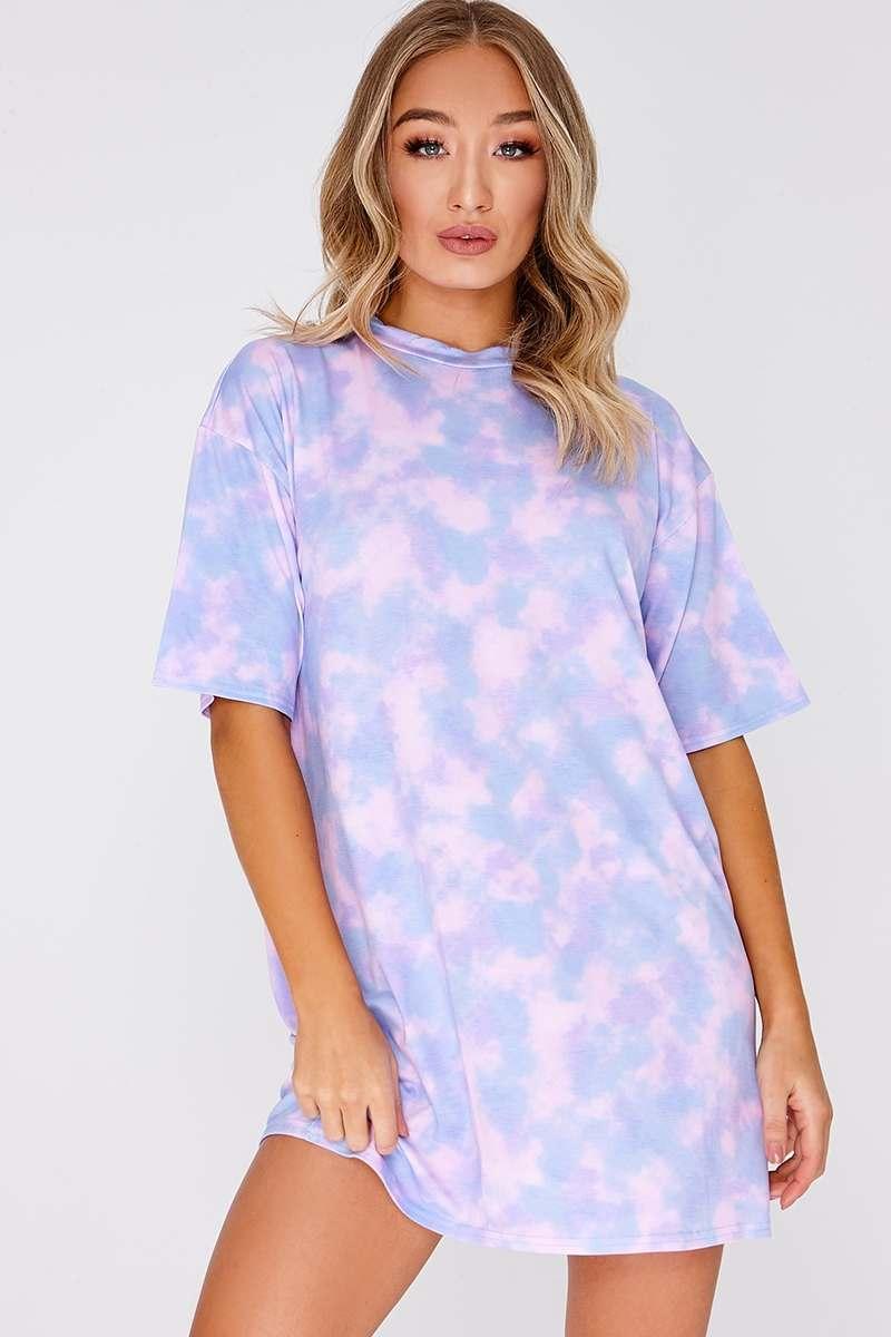lilac tie dye oversized t shirt dress