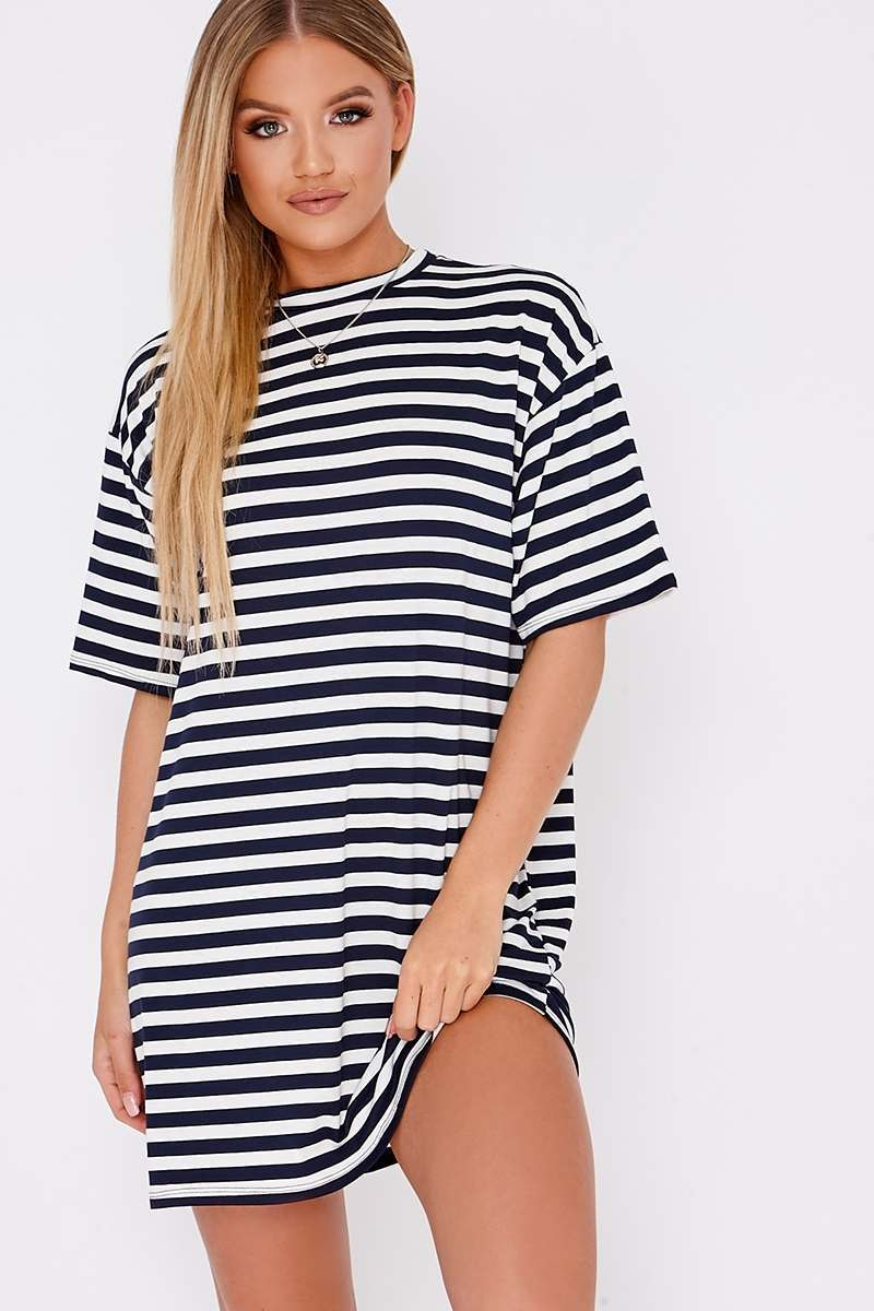 NAVY STRIPE OVERSIZED T-SHIRT DRESS