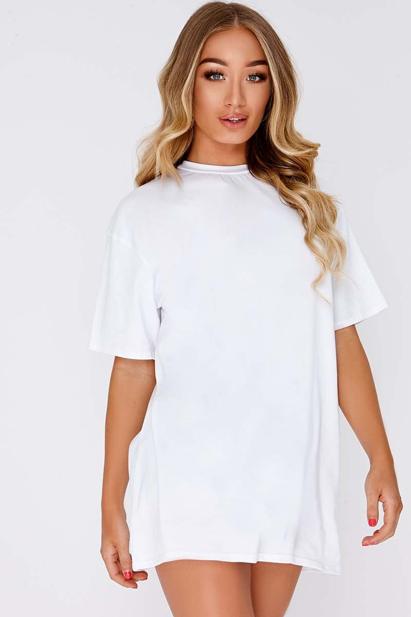 white basic t shirt dress