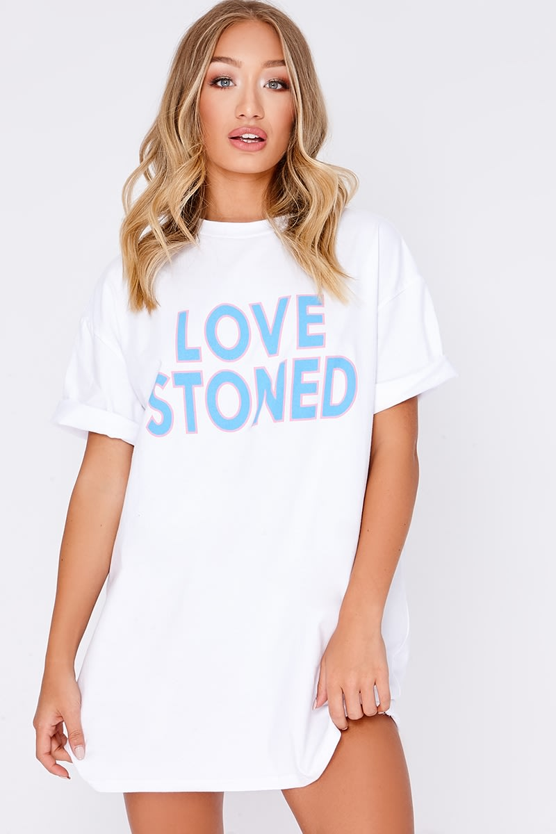 WHITE LOVE STONED SLOGAN BAND T SHIRT DRESS