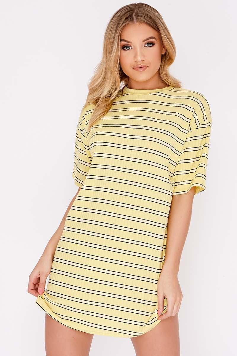 yellow stripe oversized t shirt dress