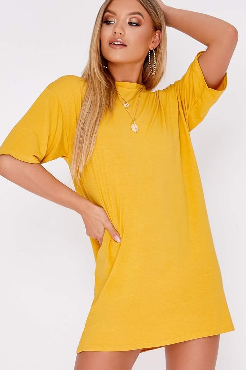 BASIC YELLOW JERSEY OVERSIZED T-SHIRT DRESS