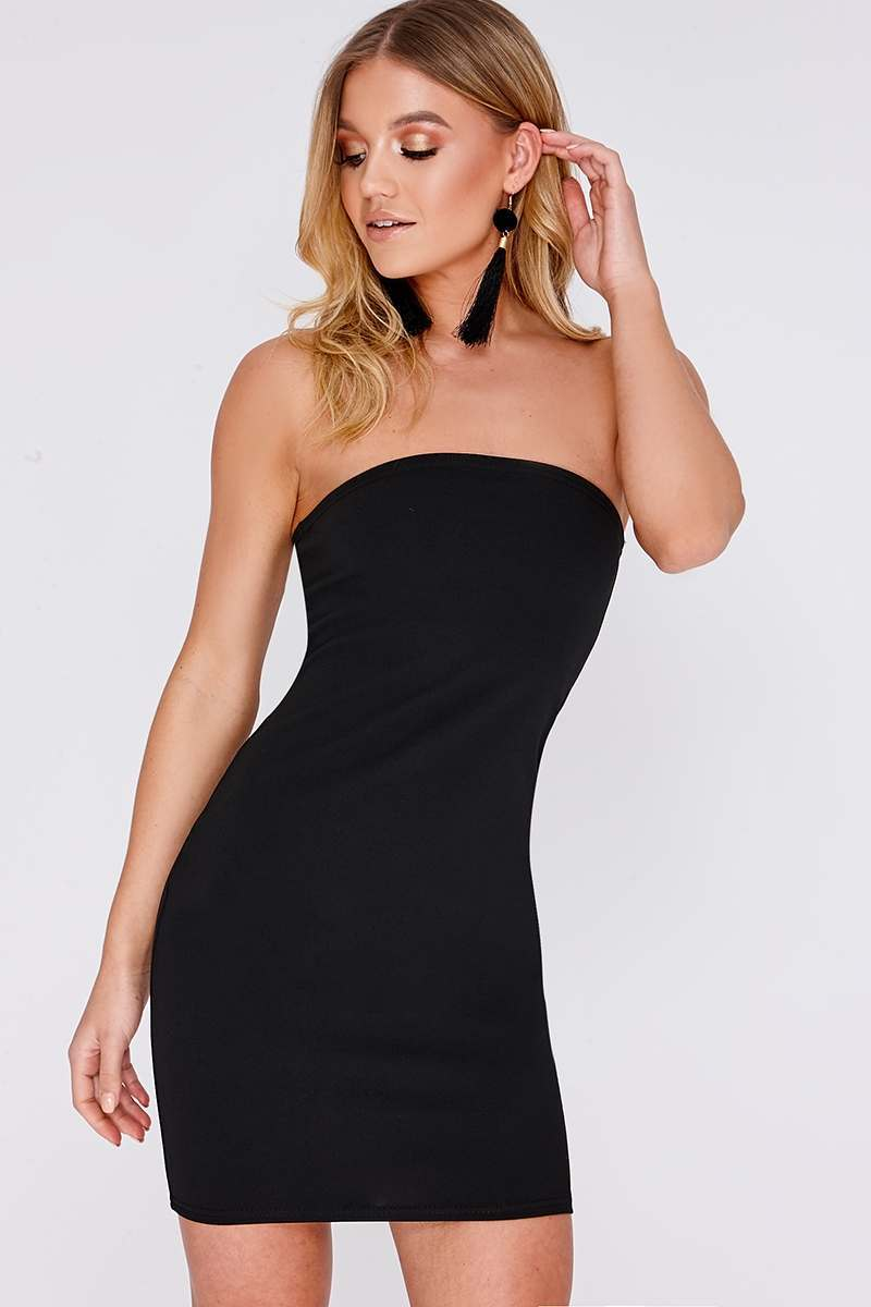 black bandeau mini dress