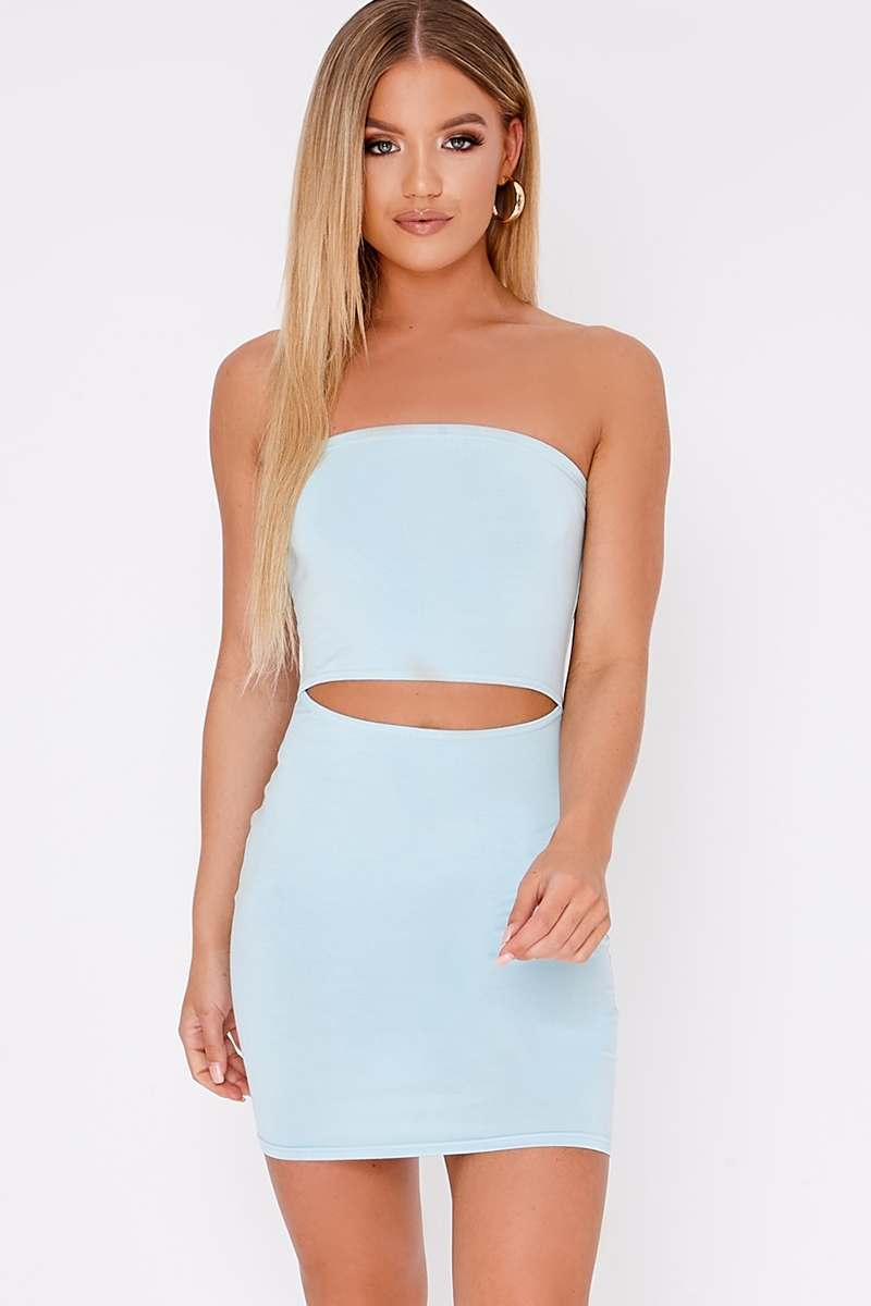 BASIC BLUE JERSEY CUT-OUT BANDEAU DRESS