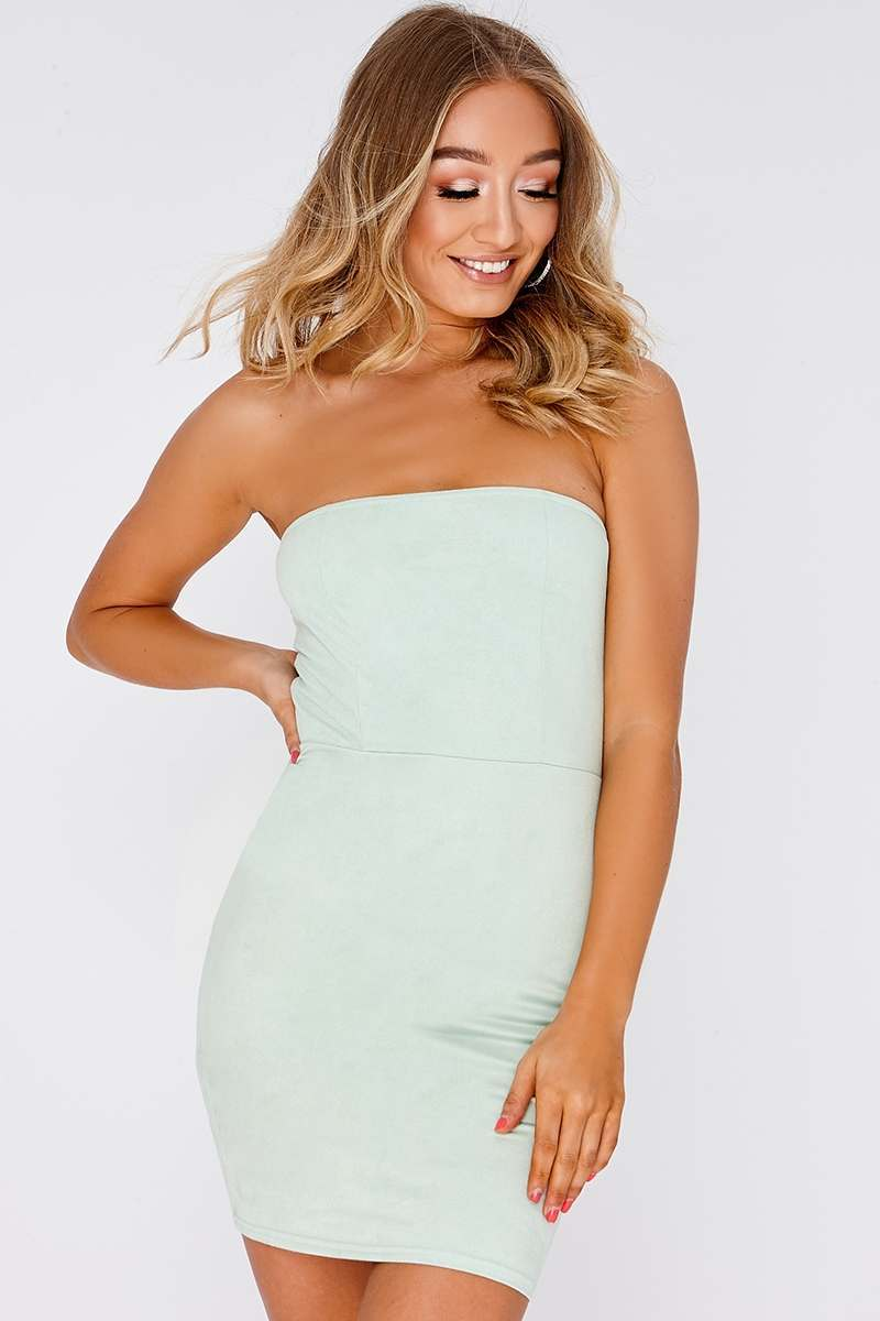 GEMINI MINT FAUX SUEDE BANDEAU DRESS