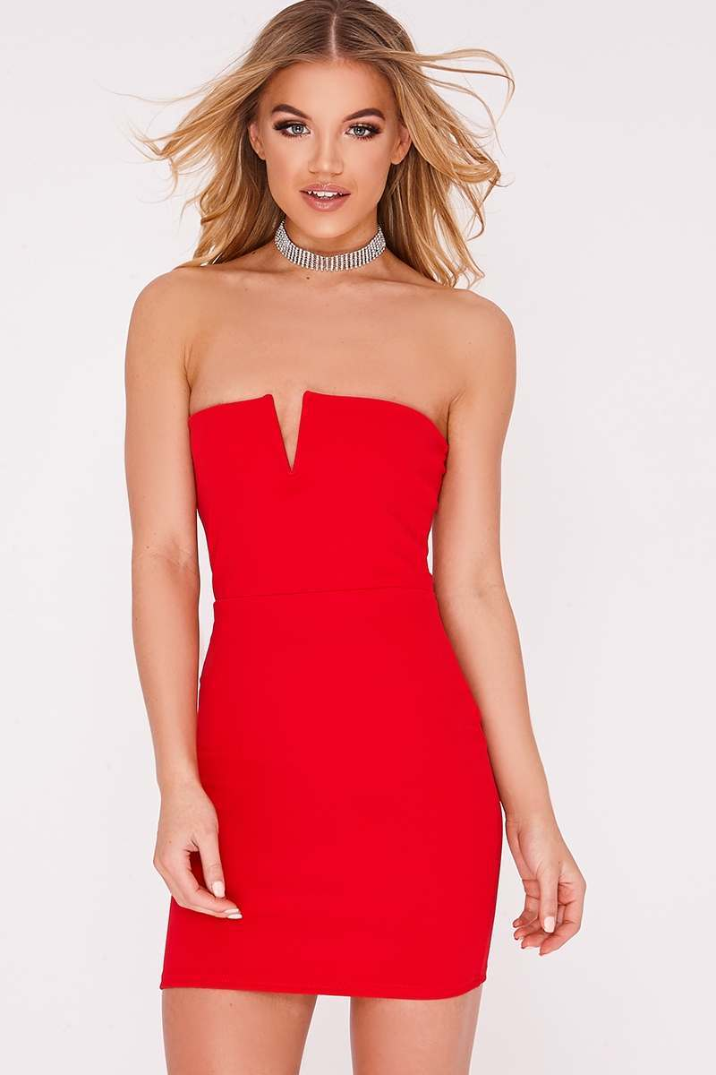 red v plunge bandeau dress