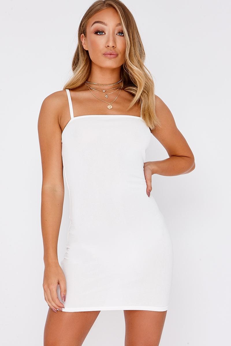 white crepe square neck bodycon dress