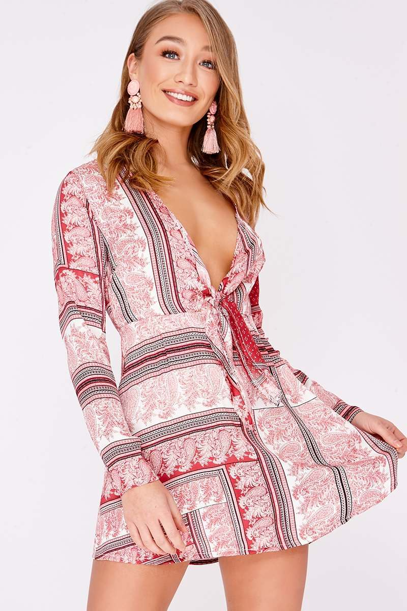 pink scarf print silky tie front dress