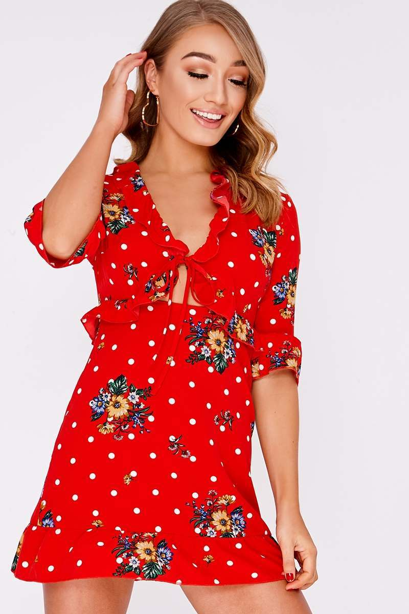 DEANNA RED FLORAL POLKA DOT CUT OUT DRESS