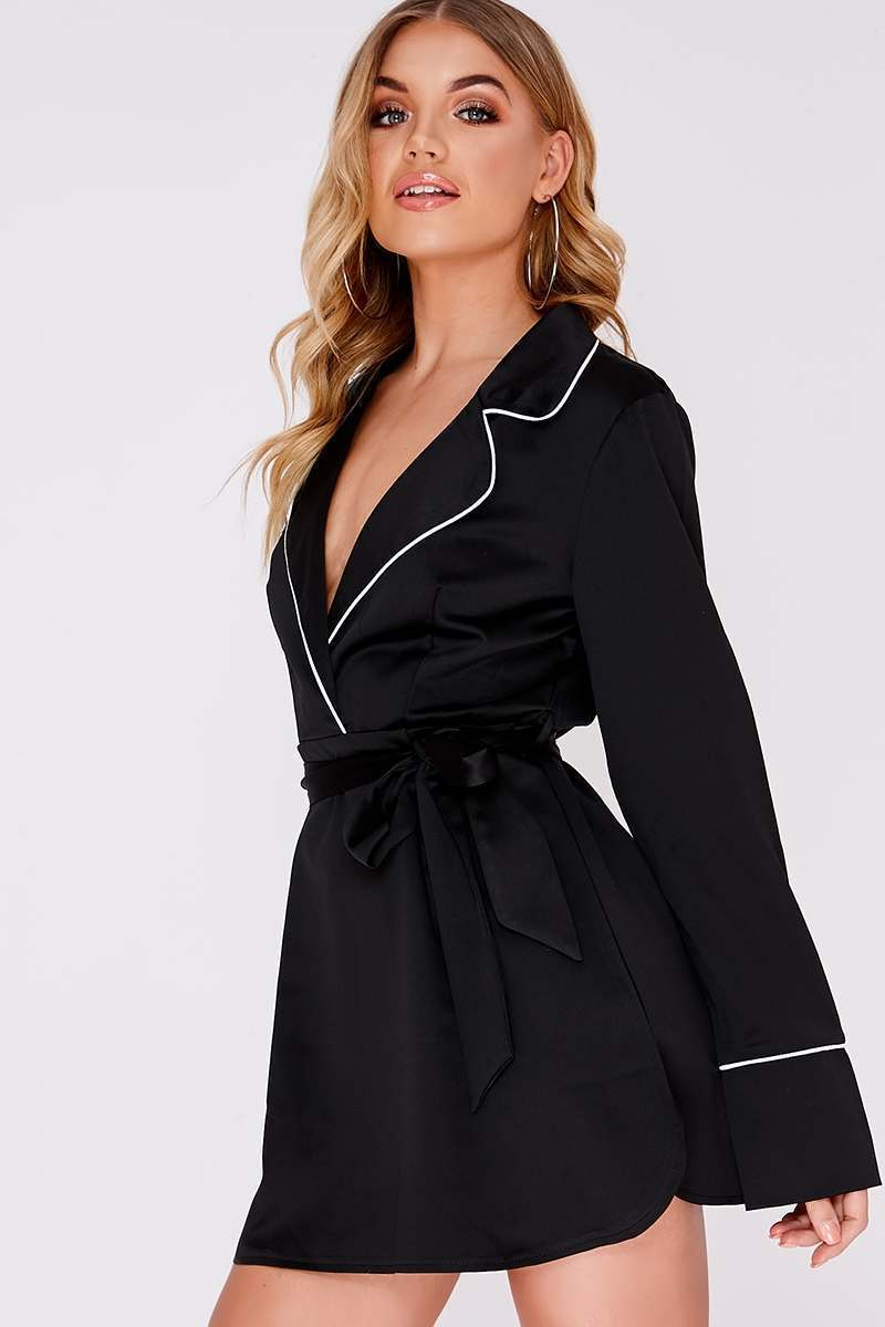 black satin contrast piped shirt dress