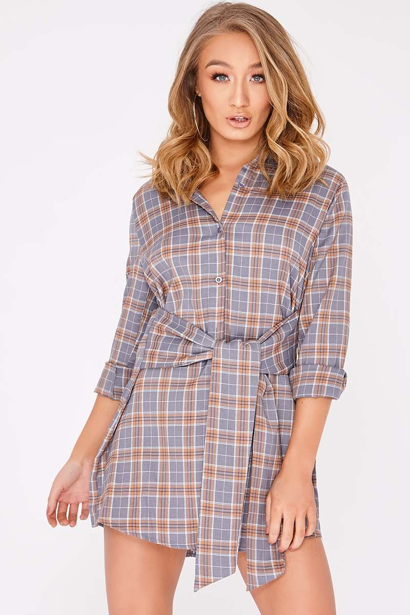 CHAYCE GREY CHECKED WRAP SHIRT DRESS