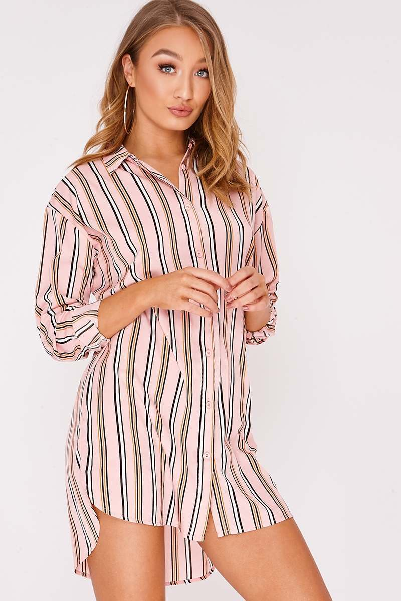 pink stripe dropped hem shirt dress