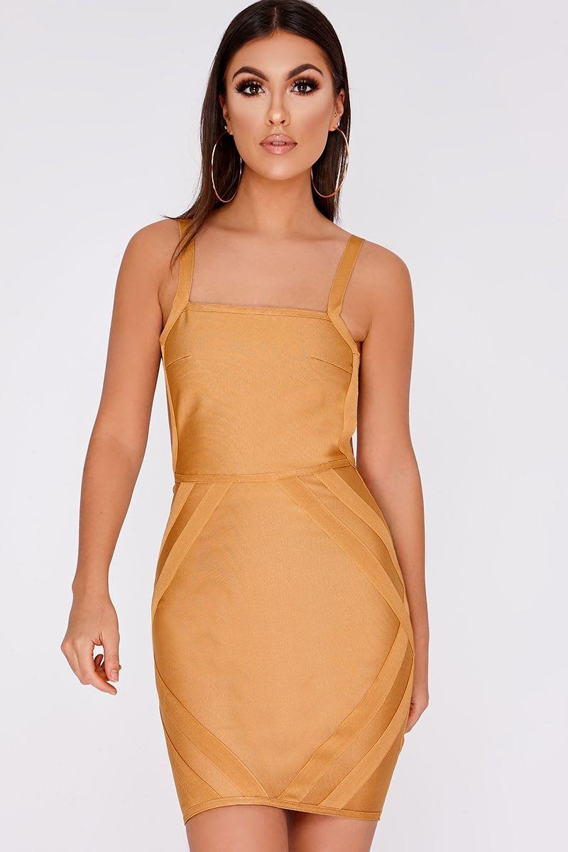 gold backless bandage mini dress