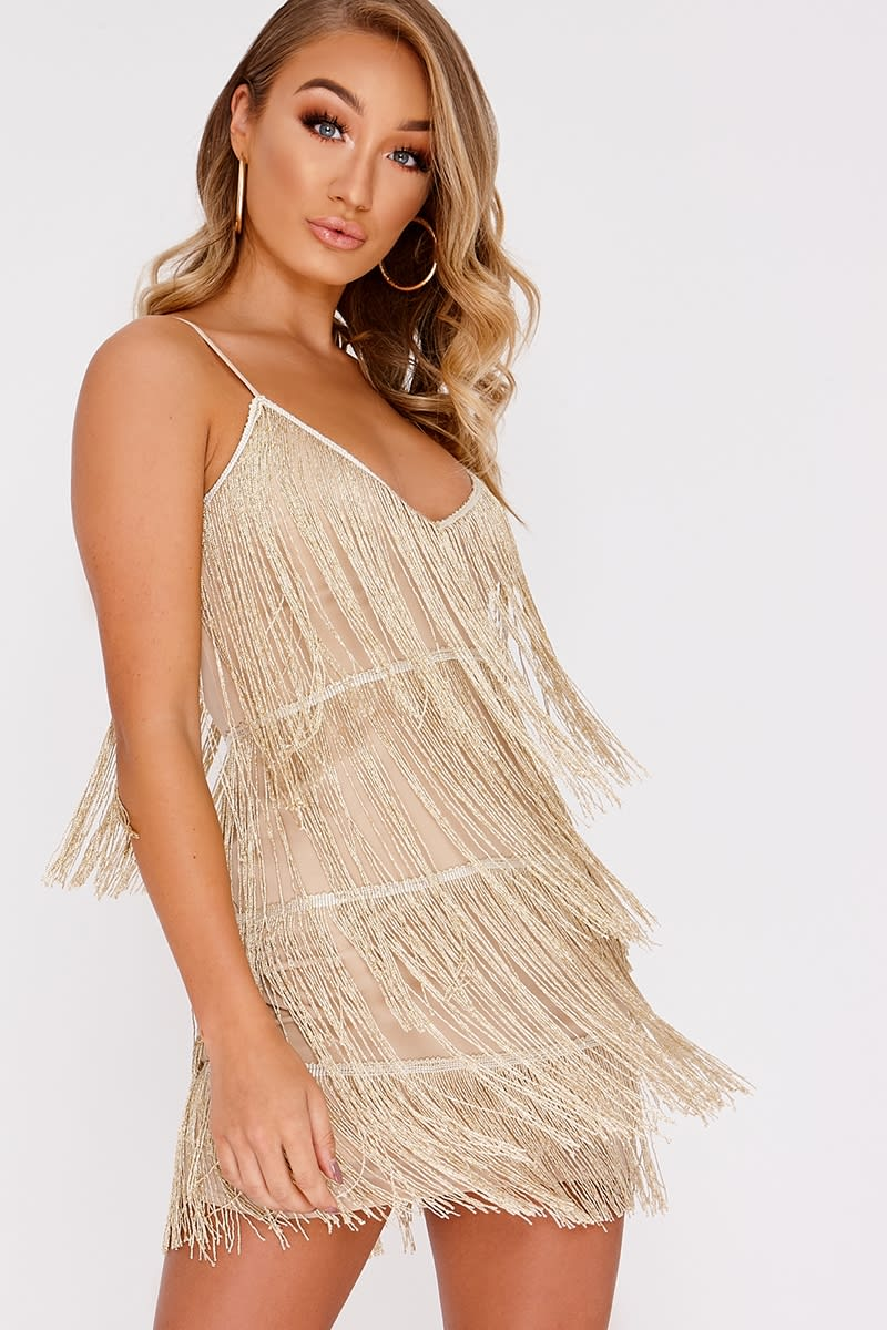 gold metallic tassel mini dress