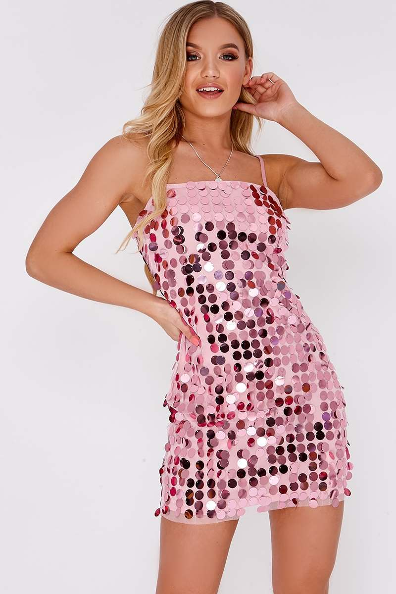 pink sequin strappy mini dress