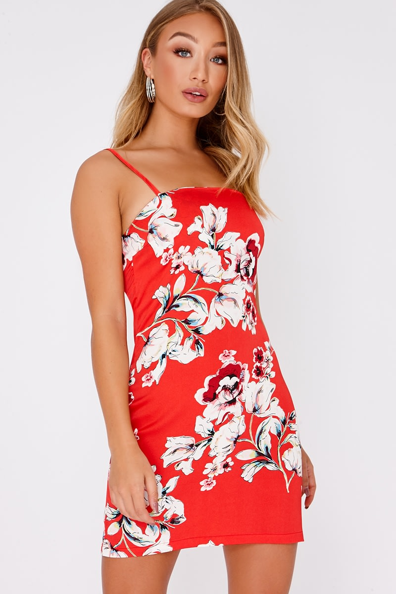 AZIE RED FLORAL SATIN SQUARE NECK MINI DRESS