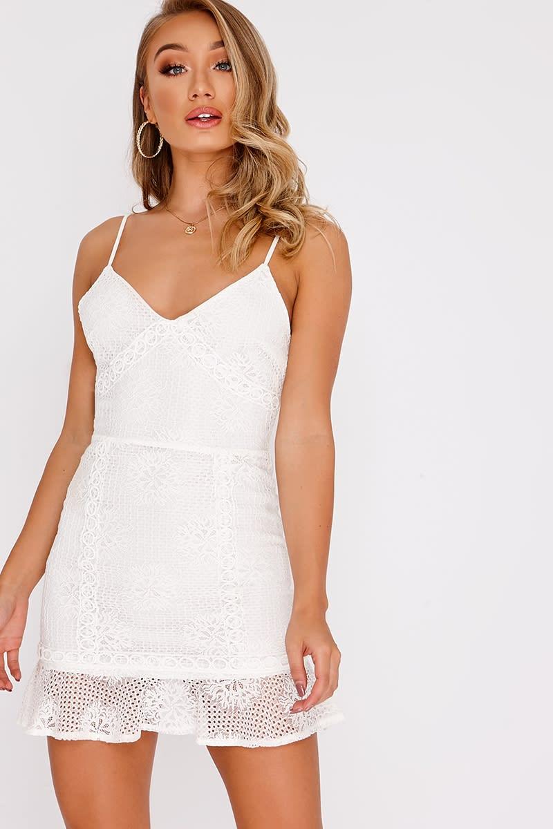 white crochet lace frill hem mini dress