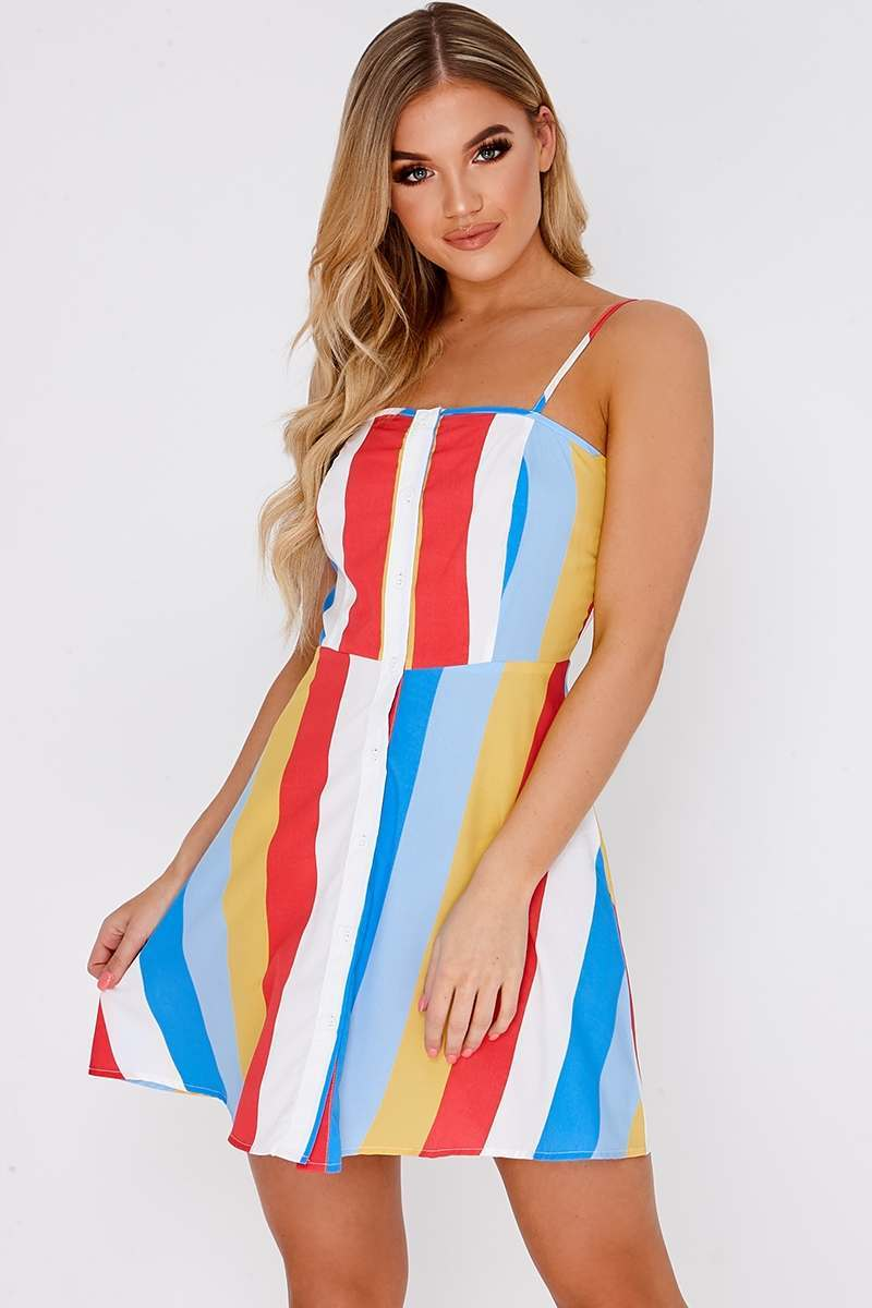 GINNI YELLOW BOLD STRIPE BUTTON DETAIL MINI DRESS