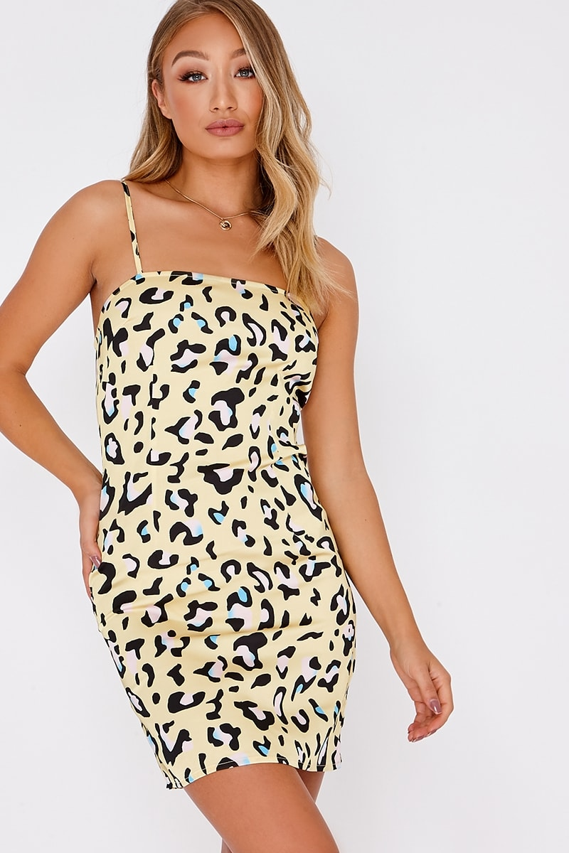 AYSE LEMON LEOPARD SATIN SQUARE NECK MINI DRESS