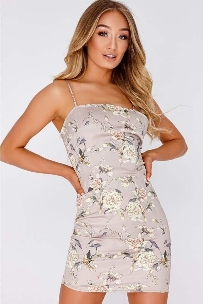 beige floral satin square neck slip dress