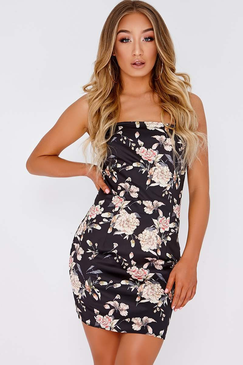 black floral satin square neck slip dress