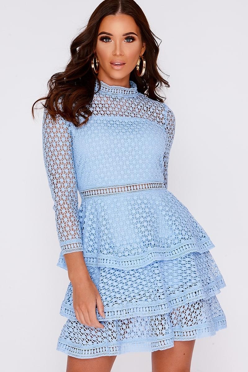 blue crochet lace layered dress