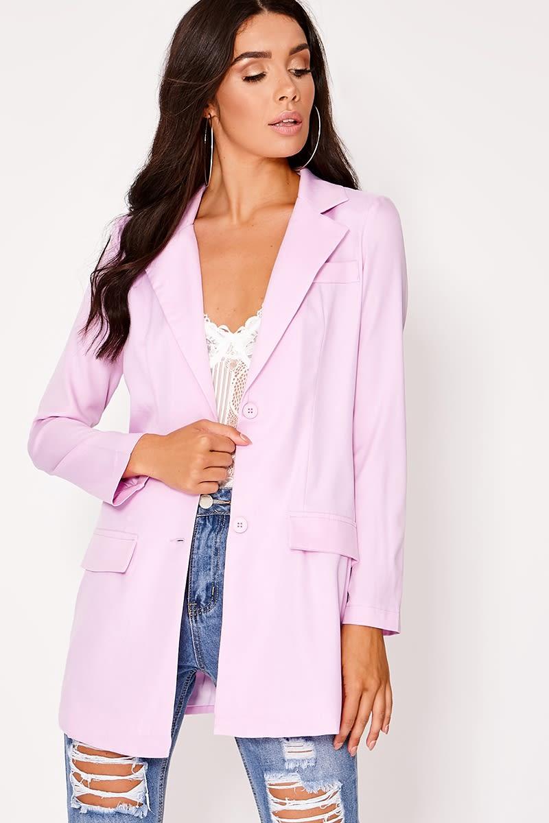lilac plunge structured longline blazer