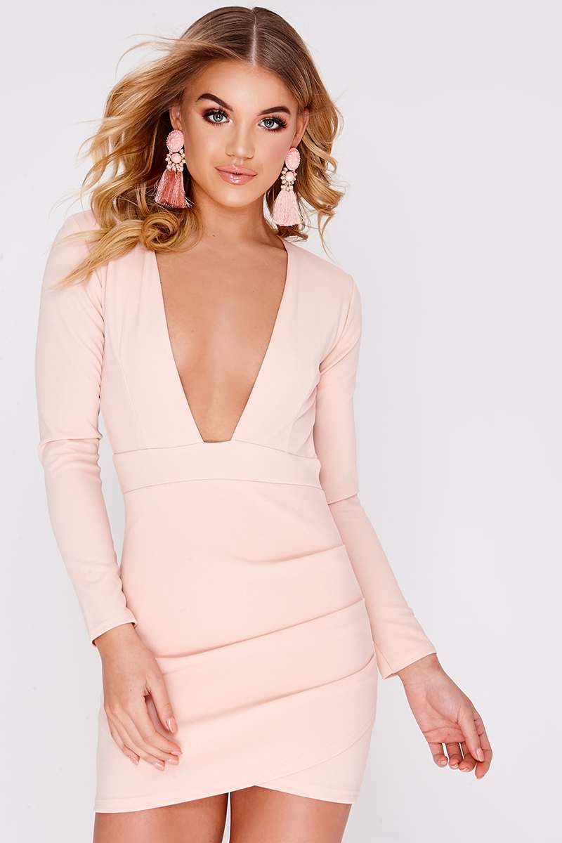 nude plunge backless long sleeve dress
