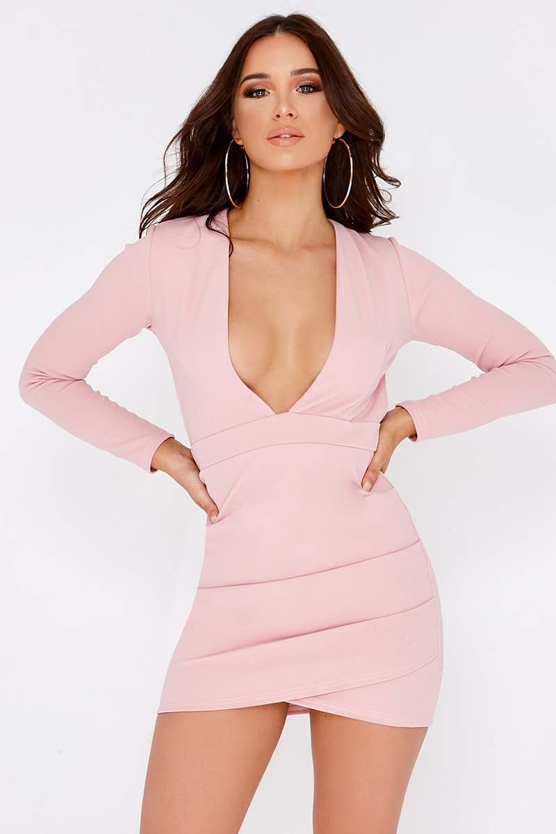 rose plunge backless long sleeve dress