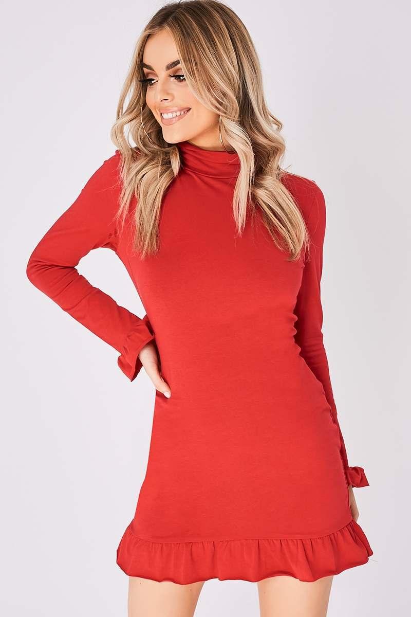 red high neck ruffle hem mini dress