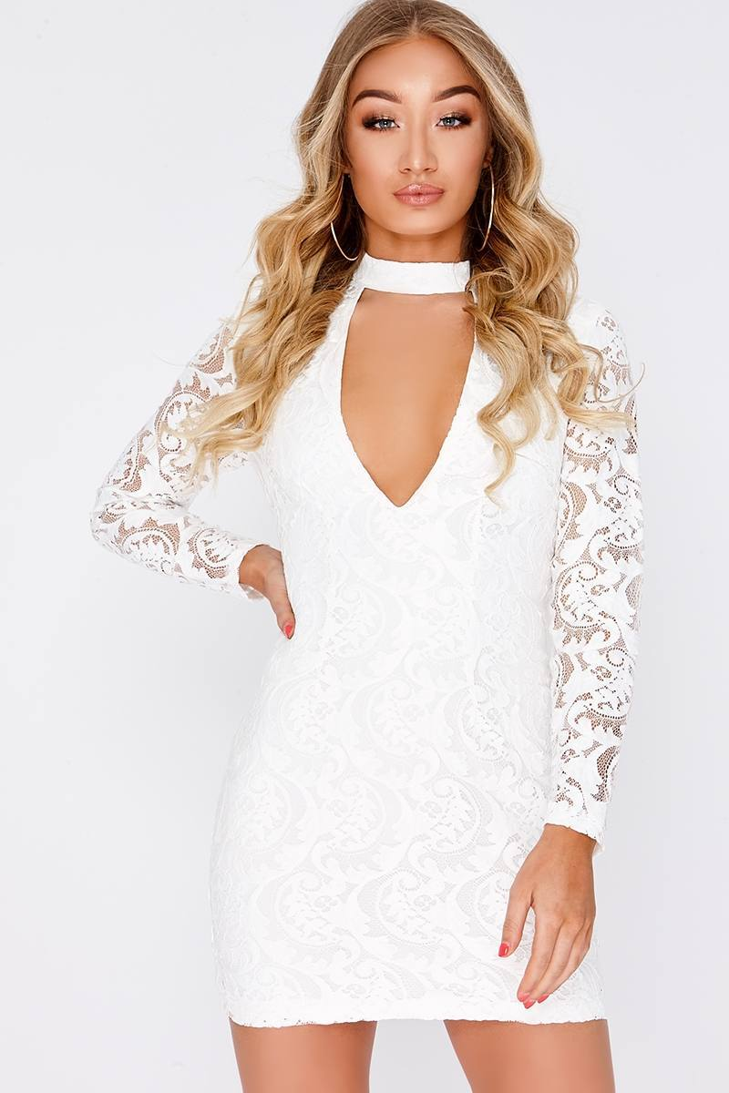 DOTTIE WHITE LACE PLUNGE LONG SLEEVE DRESS