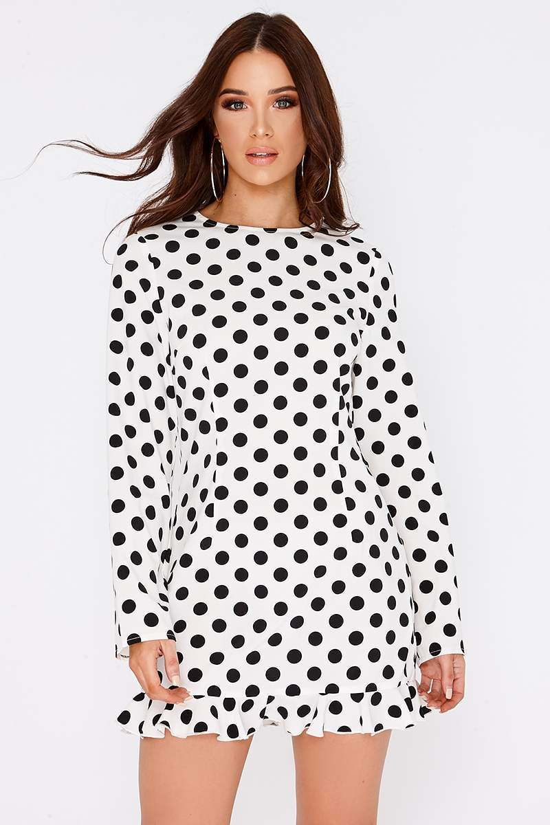 white polka dot long sleeve frill mini dress