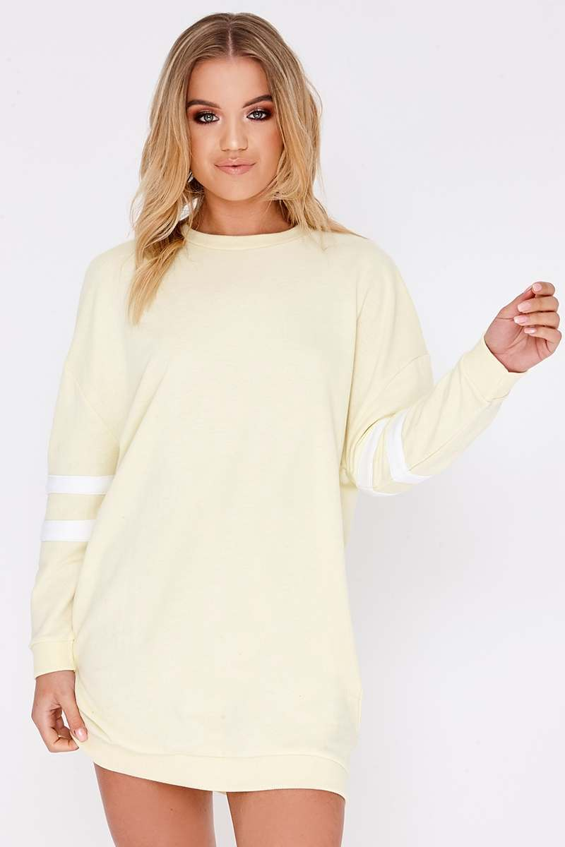 CAITLIE YELLOW SPORTS STRIPE SWEATER DRESS
