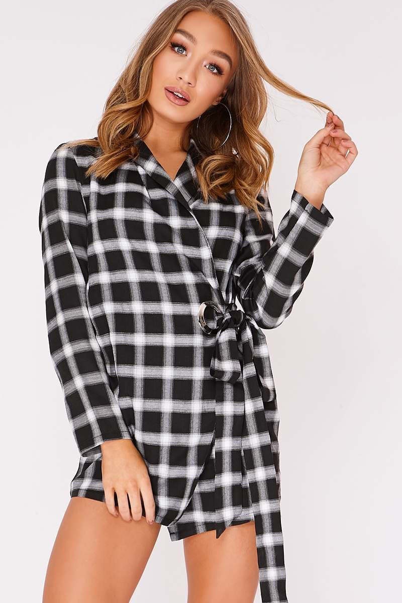 DAIZY BLACK CHECK RING DETAIL WRAP DRESS