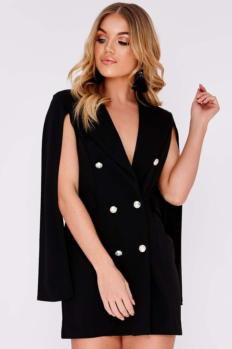 black split sleeve blazer dress