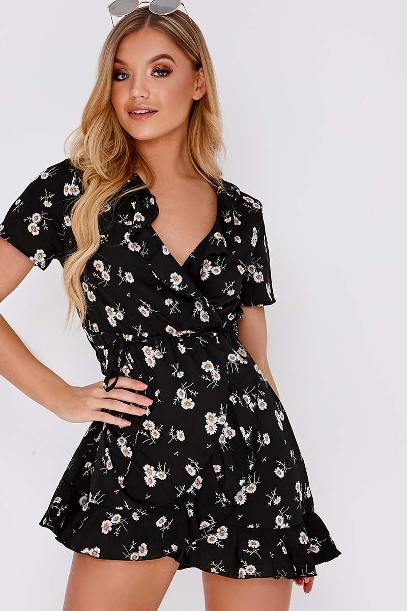 black floral frill wrap dress