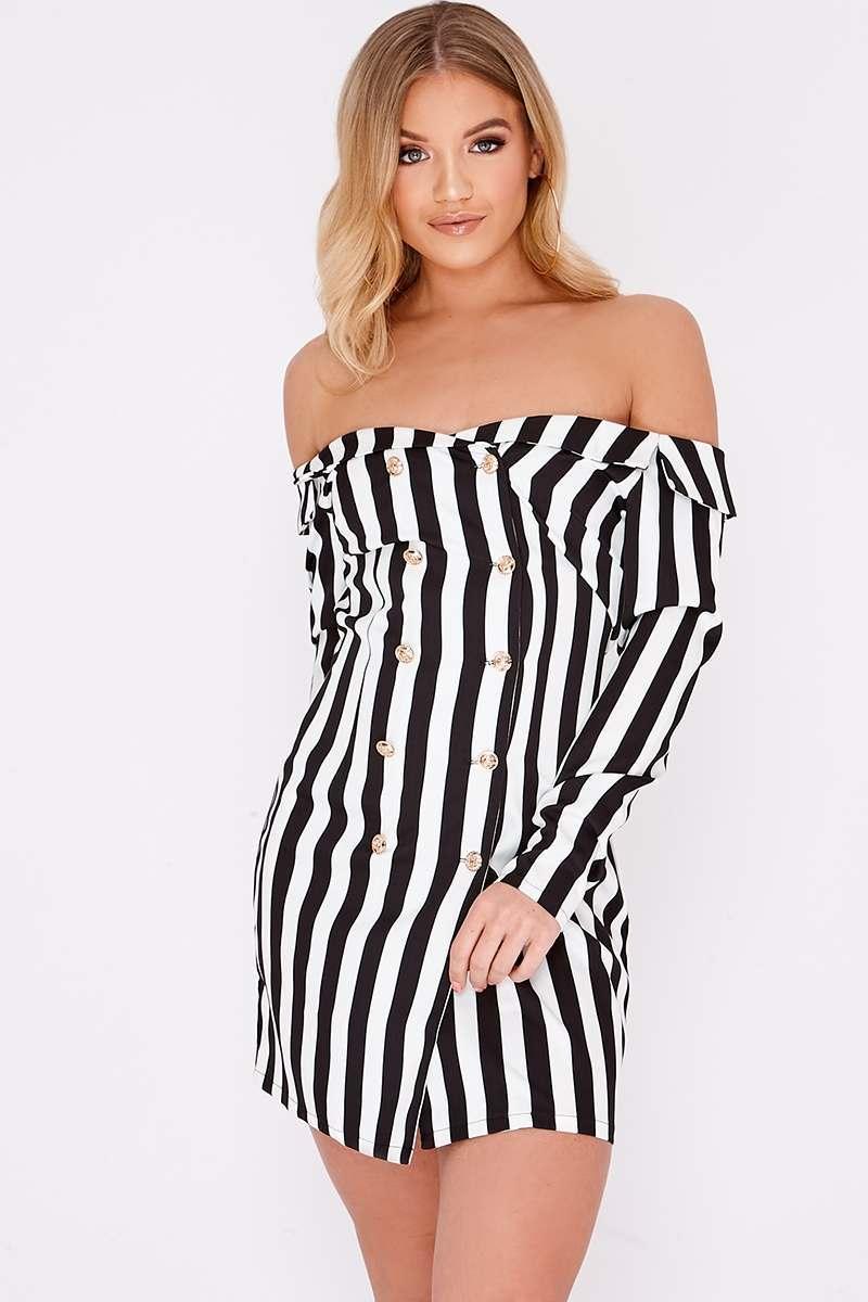 black stripe bardot blazer dress
