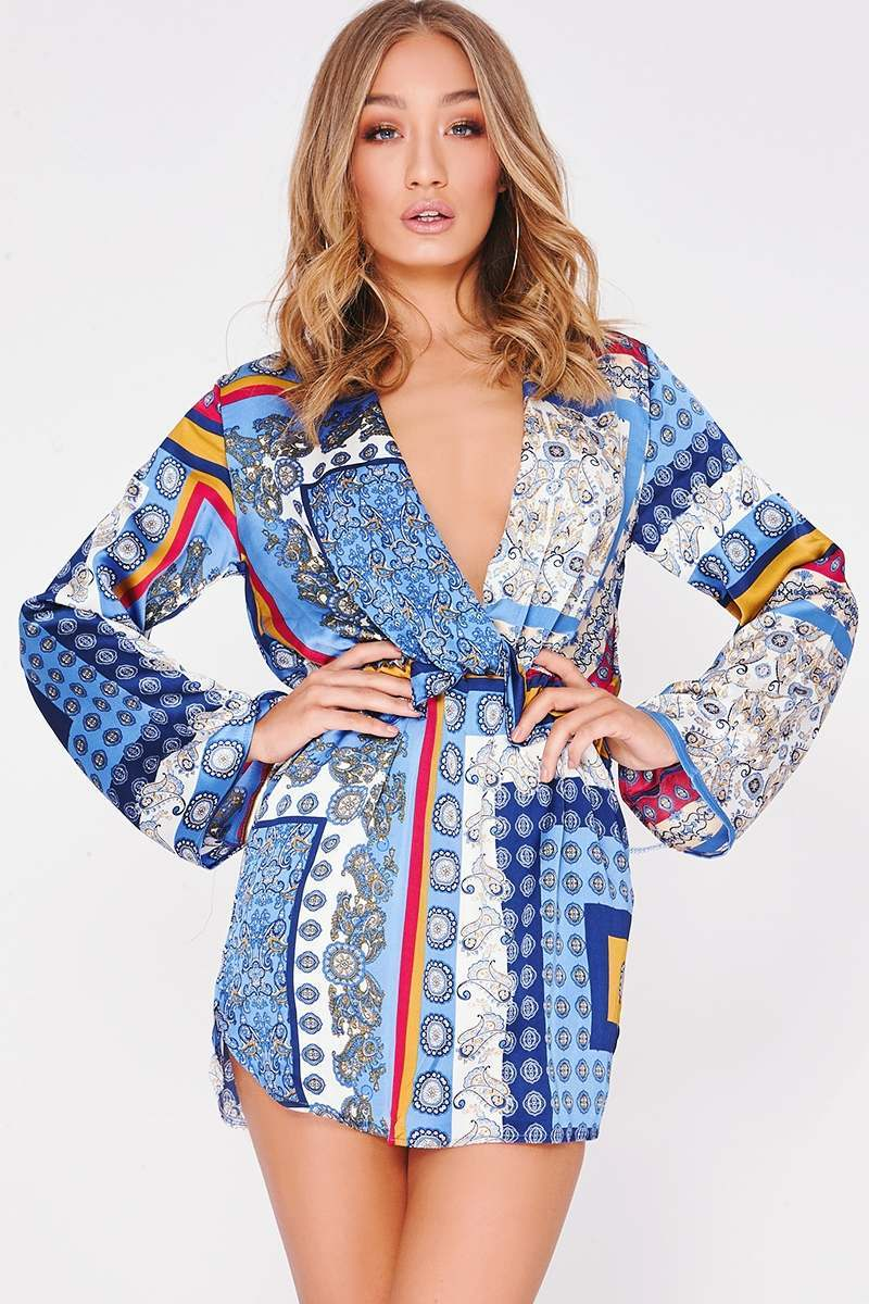 blue satin scarf print wrap dress
